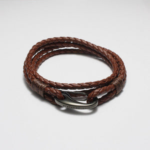 CESARIO BROWN LEATHER BRACELET - Stefan Severin Leather Accessories