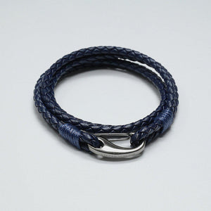 CESARIO BLUE LEATHER BRACELET - Stefan Severin Leather Accessories