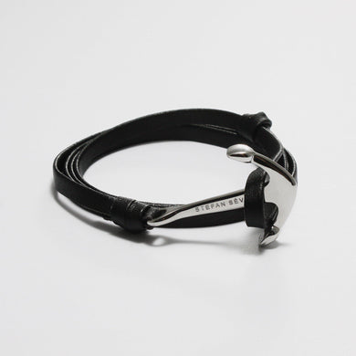 ENZO BLACK LEATHER BRACELET - Stefan Severin Leather Accessories