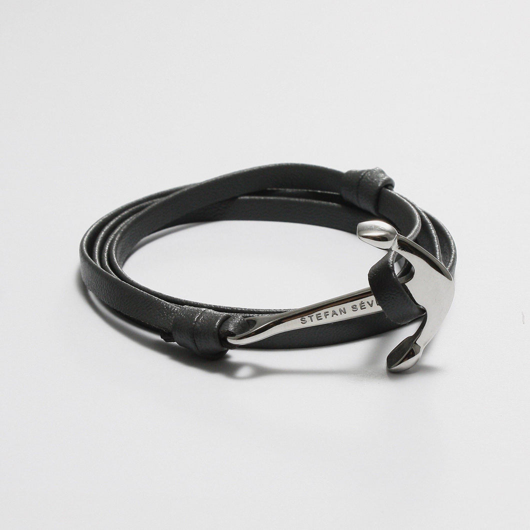 ENZO GREY LEATHER BRACELET - Stefan Severin Leather Accessories