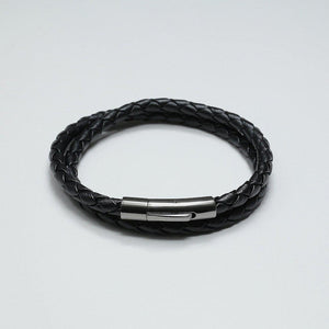 HUGO BLACK LEATHER BRACELET - Stefan Severin Leather Accessories