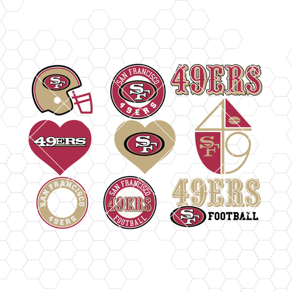 San Francisco 49ers SVG, San Francisco 49ers files, 49ers logo, football, silhouette cameo, cricut, digital clipart, layers, png dxf ai