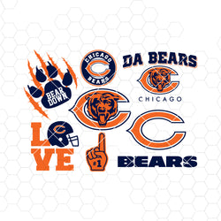 Chicago Bears SVG, Chicago Bears files, bears logo, football, silhouette cameo, cricut, cut file, digital clipart, layers, png dxf ai