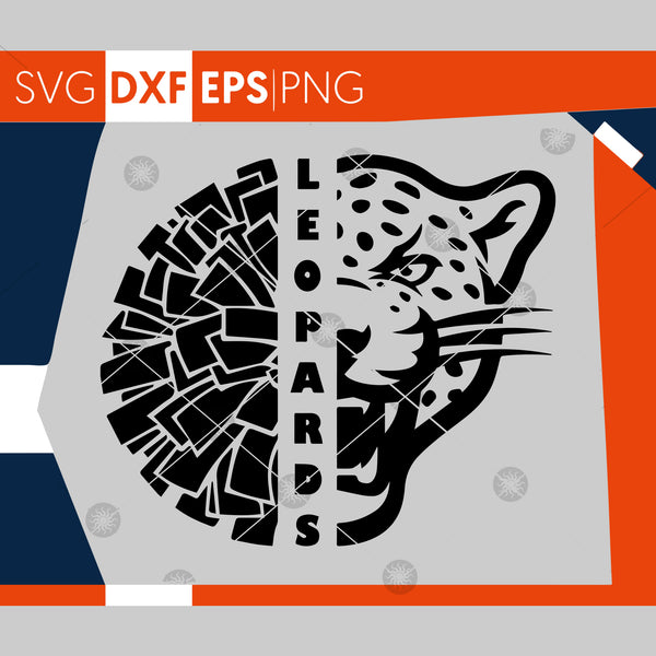 Leopards SVG, Cheerleading SVG, Leopards Cheer Svg, Leopards Cheer Pom Pom Svg, Cricut Cut Files,Silhouette Cut Files,Cutting Files