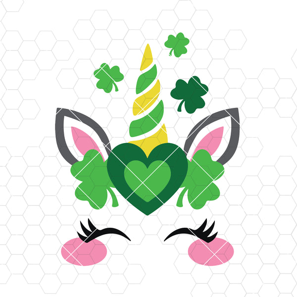 St. Patrick's Day Svg, Unicorn Svg, Dxf, Png, Lucky Svg, Shamrock Svg, Cute Kid's Design, Girl Shirt Design, Silhouette, Cricut, Cut Files