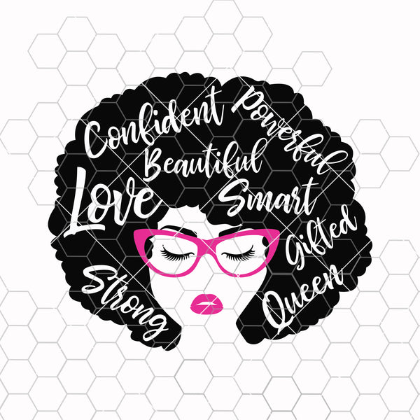African American Woman svg, Black woman svg, Afro svg, Afro woman svg, Strong svg, Powerful svg, Beautiful svg, Queen svg, Girl power svg
