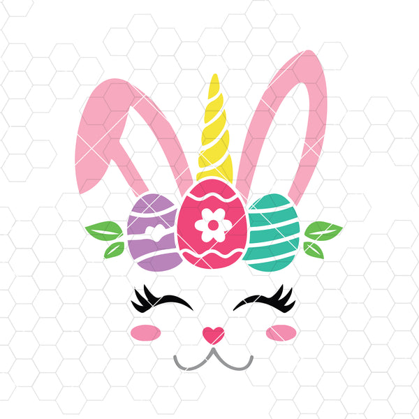 Bunny Unicorn Svg, Easter Bunny Svg, Easter Svg, Bunny Face Svg Dxf Png, Girl Bunny Clipart, Happy Easter Svg, Silhouette, Cricut, Cut Files