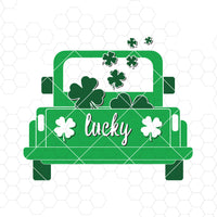 Saint Patrick's day truck Svg, Truck with shamrock Svg, Saint Patrick Svg, Green truck Svg, Truck clipart svg, St Patrick's day Cutting File