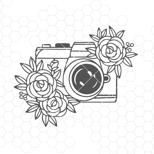 Camera SVG file, Photography SVG file, Photographer SVG file, Flower, Floral, Camera clip art
