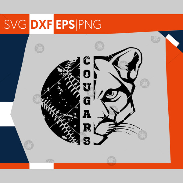 Cougars SVG, Baseball SVG, Grunge Cougars Baseball Design, Distressed Svg, Cricut Cut Files, Silhouette Cut Files, SVG Cutting Files