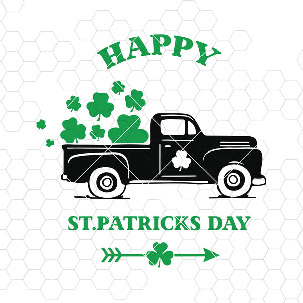 Happy St Patrick's day svg, St Patrick's day old Truck car Svg, Shamrock SVG, St Patrick's Day Svg, CriCut Files svg jpg png dxf Silhouette