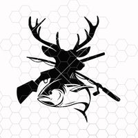 Hunting SVG, Fishing svg, Deer and Fish Svg, Png, Silhouette, Cricut Designs, Digital Download, Iron on craft vinyl
