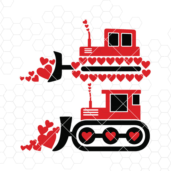 Valentine Tractor Digital Cut Files Svg, Dxf, Eps, Png, Cricut Vector, Digital Cut Files Download