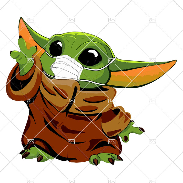 Baby Yoda with mask Sublimation Designs PNG Graphic Design T shirt Yoda Design Mug Baby Yoda Digital Print