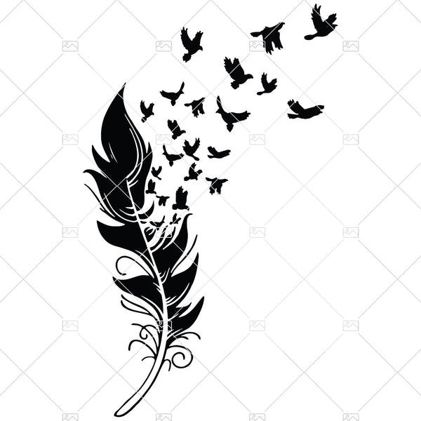 Birds of a Feather SVG - Feather SVG Bird Clip Art Tưởng niệm Svg Angel Feather Clipart Bird Lover SVG Silhouette Cameo Cricut Cut File
