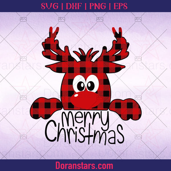 Buffalo Plaid Reindeer Svg,, Reindeer Svg, Peeping Reindeer, Merry Christmas Svg - Instant Download - Doranstars