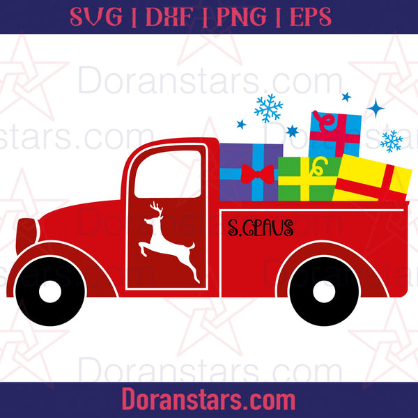 Christmas Pick Up Truck Presents - Free SVG, Instant Download - Doranstars