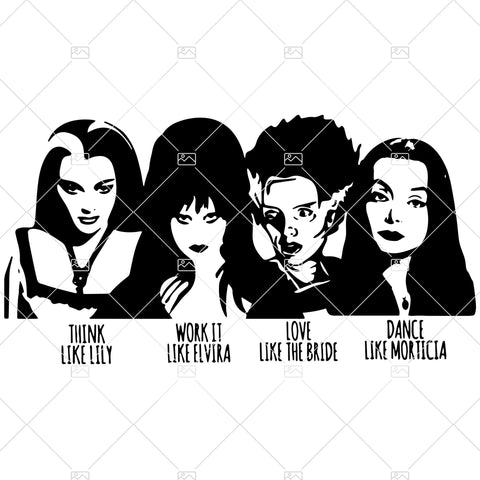 Halloween SVG for Silhouette or Cricut, Elvira, Lily Munster, Morticia, Bride of Frankenstein PNG for Sublimation, Instant Download