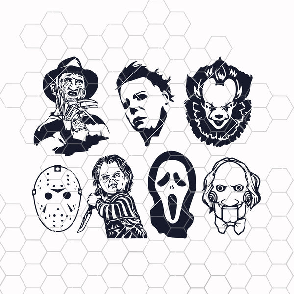 Horror Movie Killers SVG Bundle Digital Vector - Halloween, Pennywise, Jason, Mike Myers, Scream, Freddy Krueger, Chucky, and Jigsaw| Scary|