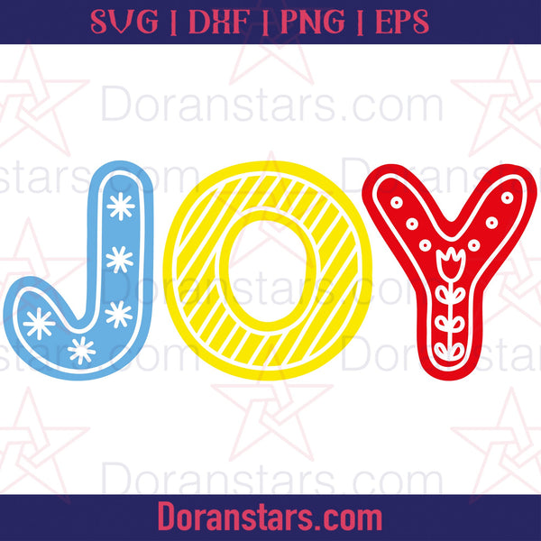 Joy - Christmas Svg - Free SVG, Instant Download - Doranstars