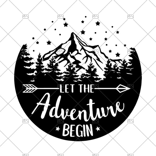 Let the Adventure Begin Circle Stencil SVG, adventure svg, Cricut Silhouette , More, camping svg , camper svg, travel svg, glamping svg