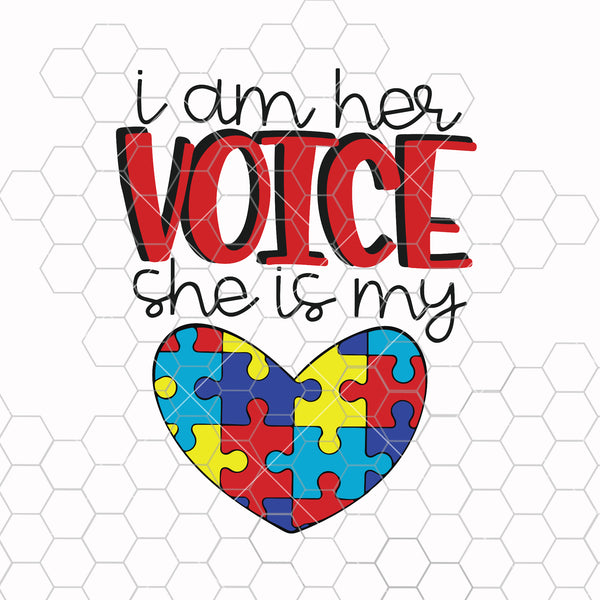 I am his voice he is my heart Gifts Autism Mom SVG PNG Cutting Printable Files