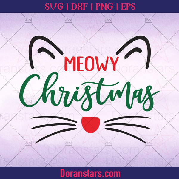 Meowy Christmas SVG, Cat Christmas SVG, Cutting File, Cat Meow Christmas Clipart DXF cut files Circut - Instant Download - Doranstars