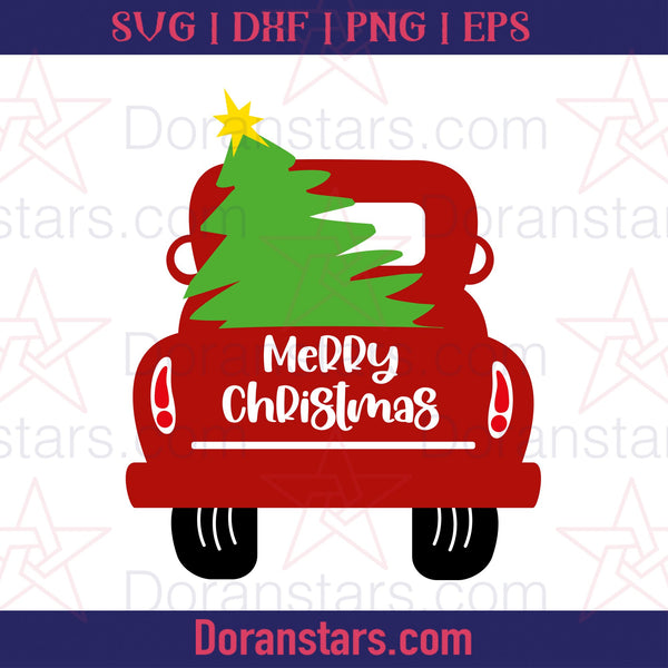 Merry Christmas Pick Up Truck Tree -  Free SVG, Instant Download - Doranstars