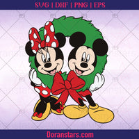 Mickey and Minnie in Christmas Wreath Cut File - Instant Download - Doranstars
