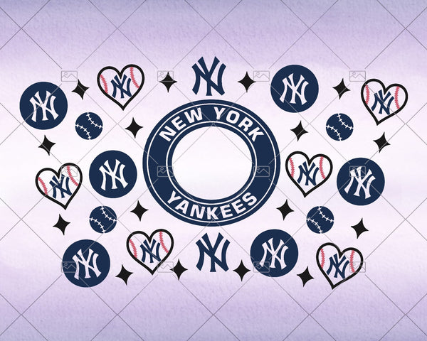 New York Yankees, Full wrap Svg for Starbucks Tumbler -  Svg for DIY, DIY Starbuck Cup Instant Download
