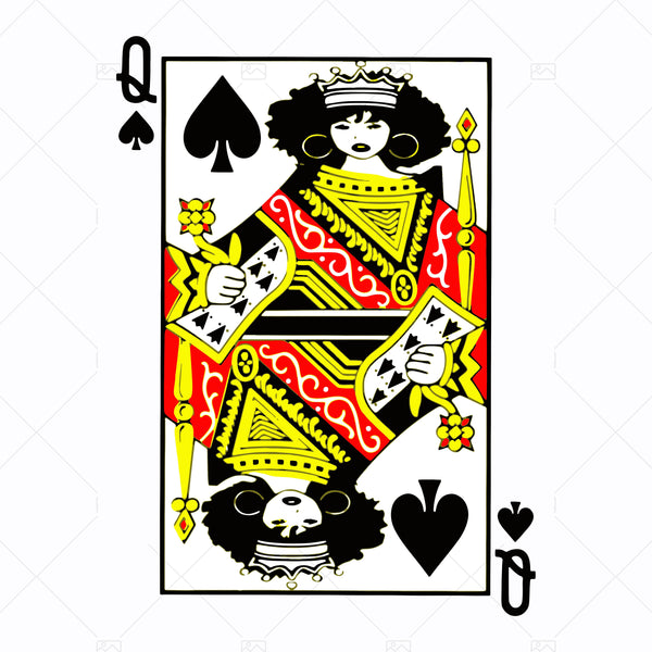 Afro Queen of Spades SVG