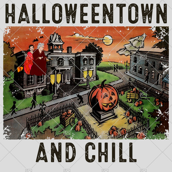 Retro Halloweentown And Chill PNG,Happy Halloween, Pumpkin, Sublimated Printing/INSTANT DOWNLOAD / Png Printable / Digital Print Design.