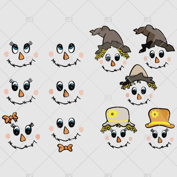 Scarecrow face SVG girl and boy face Halloween Svg digital cut file scarecrow svg clipart Cricut Silhouette - DXF PDF png svg