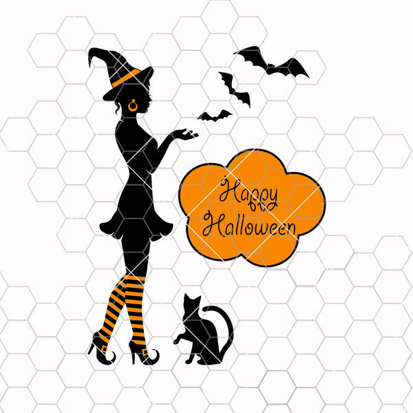 Silhouette of a witch on Halloween Digital Cut Files Svg, Dxf, Eps, Png, Cricut Vector, Digital Cut Files Download