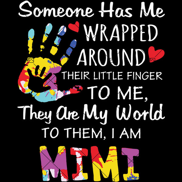 Someone Has Me Wrapped Around Their Little Finger To Me-They Are My World To Them-I Am Mimi Digital Cut Files Svg, Dxf, Eps, Png, Cricut Vector, Digital Cut Files Download
