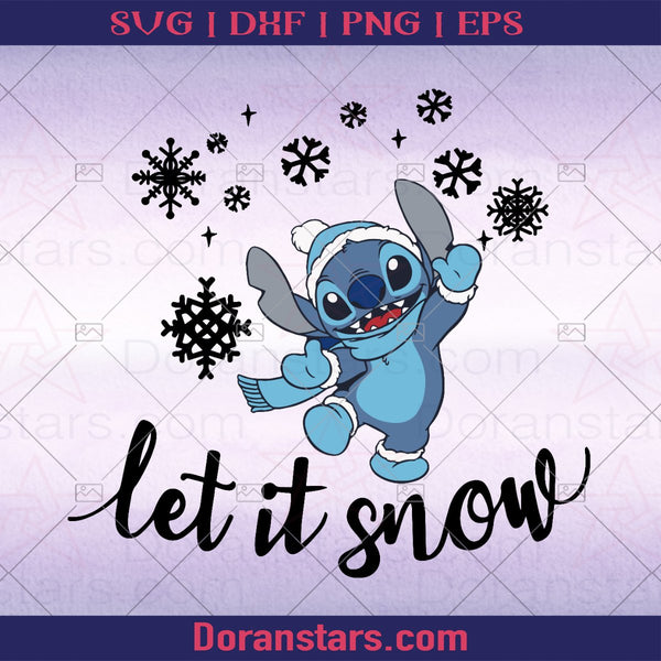 Stitch Let it snow, Christmas svg 2020 - Instant Download - Doranstars