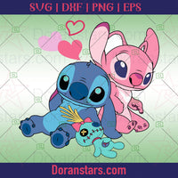 Stitch And Angel Svg - Valentine Svg - Doranstars.com