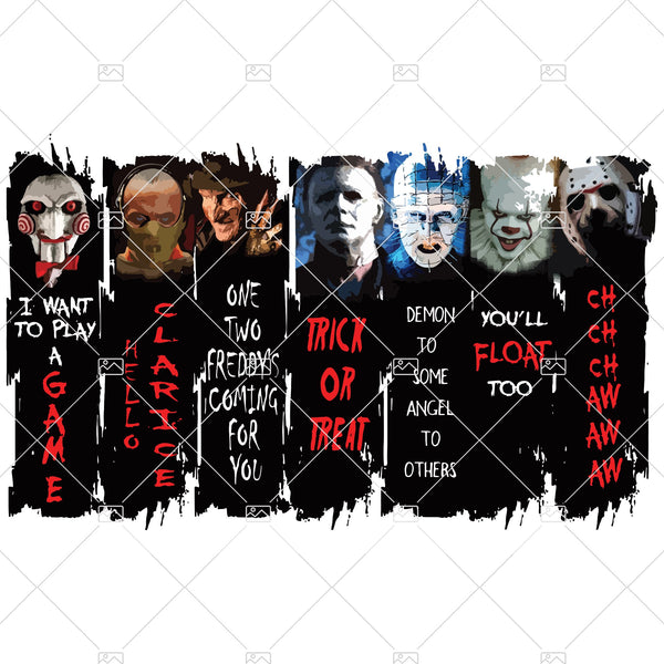 Top Horror Characters PNG, Horror, Horror Movie, Sublimated Printing/INSTANT DOWNLOAD / Png Printable / Digital Print Design.