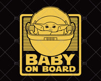 Yoda Baby from the Mandalorian with this Baby on Board Svg  - Instant Download - Doranstars