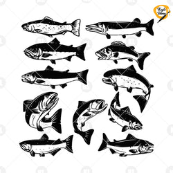 Fish Svg Bundle Digital Cut Files Svg, Dxf, Eps, Png, Cricut Vector, Digital Cut Files Download
