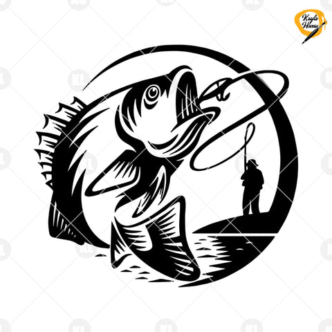 Fishing Logo Digital Cut Files Svg, Dxf, Eps, Png, Cricut Vector, Digital Cut Files Download
