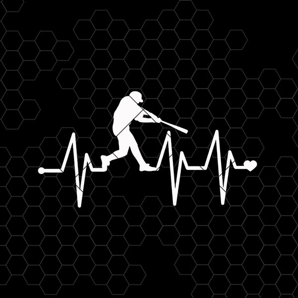 Heartbeat Baseball Digital Cut Files Svg, Dxf, Eps, Png, Cricut Vector, Digital Cut Files Download