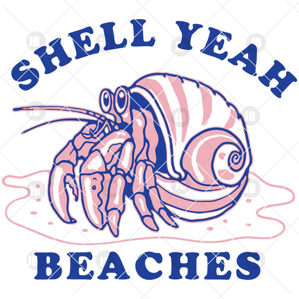 Shell Yeah Beaches Digital Cut Files Svg, Dxf, Eps, Png, Cricut Vector, Digital Cut Files Download