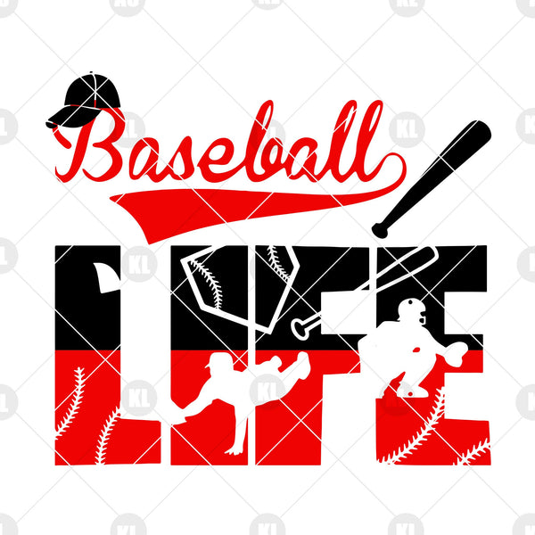 Baseball Life Digital Cut Files Svg, Dxf, Eps, Png, Cricut Vector, Digital Cut Files Download