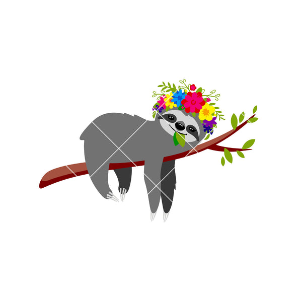 Sloth with Flower Crown Digital Cut Files Svg, Dxf, Eps, Png, Cricut Vector, Digital Cut Files Download