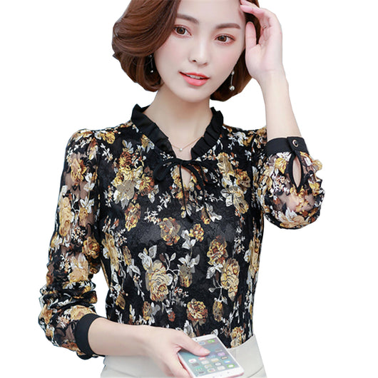 74f8edeb7e Vintage Sweet Floral Printed Chiffon Blouse Shirts Women 2017 Autumn New  Fashion Long Sleeve Blouses Lace Casual Femme Tops Style 01