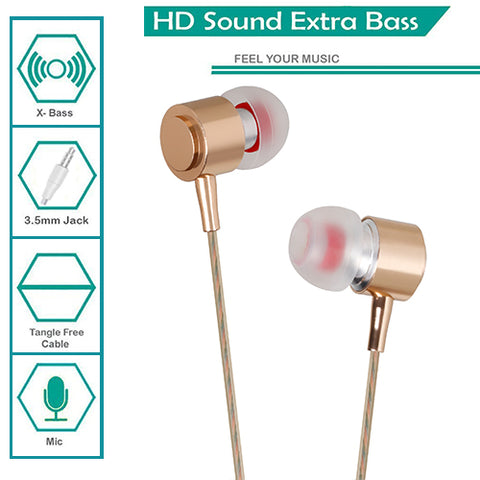 Digiprints Universal 3.5 mm Jack In Ear Earphones/Headphones Headset with mic,Metal Body with extra Bass(Gold)