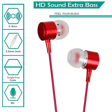 Digiprints Universal 3.5 mm Jack In Ear Earphones/Headphones Headset with mic,Metal Body with extra Bass(Red)