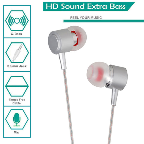 Digiprints Universal 3.5 mm Jack In Ear Earphones/Headphones Headset with mic,Metal Body with extra Bass(Silver)