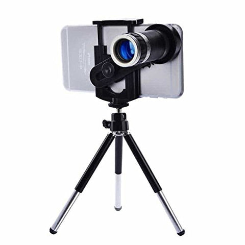 Universal 8x Zoom Telescope Camera Lens plus Mobile Phone Mount Tripod Stand Holder
